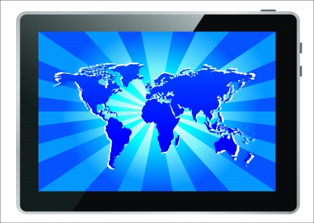 world map interface in tablet computer Stock Vector - 17753666