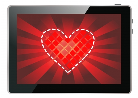 Valentine s Day Concept  Tablet PC Isolated on White Background   Illustration