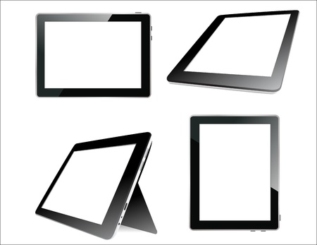 Realistic tablet pc computer with blank screen isolated on white background   Stock Vector - 17753622