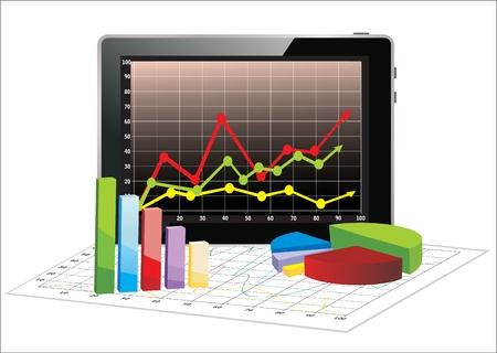 Realistic tablet pc computer with spreadsheet and a paper with statistic 3d charts Stock Vector - 17753667