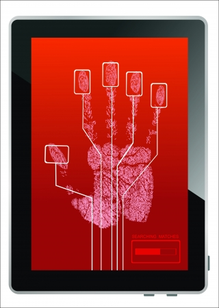 tablet pc in hand: Tablet PC on screen hand print isolated on white