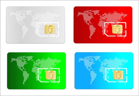sim: Set of color SIM cards isolated on white background Illustration