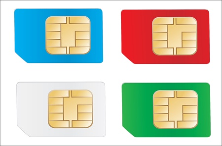 Set of color SIM cards isolated on white background Stock Vector - 17753621