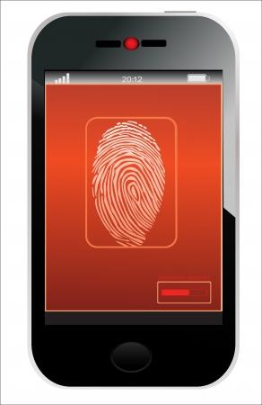 Mobile phone scanning a fingerprint Stock Vector - 17753379