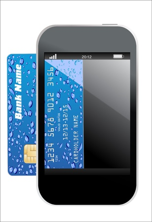 smartphone with credit card, concept digital payment, 3d illustration Vector