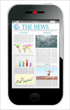 Moderno smartphone con articolo di notizie di affari isolata su bianco Vettoriali