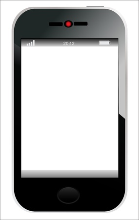 Realistic mobile phone with blank screen isolated on white background  Vector Stock Vector - 17753380