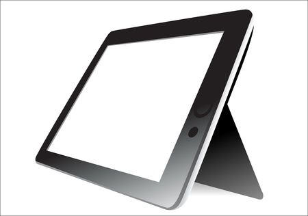 blankness: Black tablet computer on white background