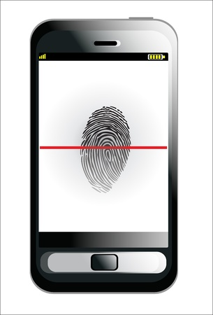 Mobile phone scanning a finger print Stock Vector - 17753382
