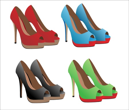 fetishes: illustration set of women s shoes with heels
