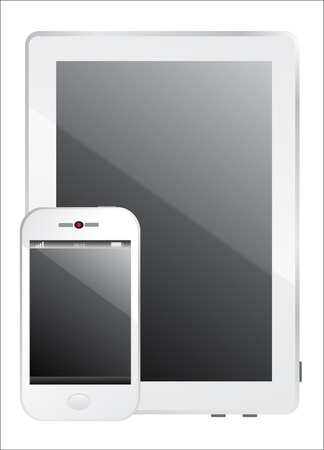 Modern realistic white digital tablet PC with smartphone on white background Stock Vector - 17753394