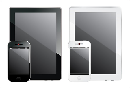 Modern realistic digital tablet PC with smart phone on white background Stock Vector - 17753197