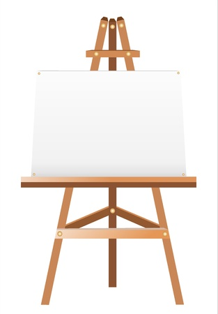 A white canvas on an easel  Çizim