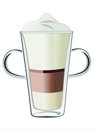 capuchino: Coffee drinks with cream in glass Illustration