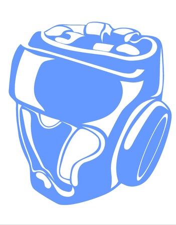 acolchado: azul casco de boxeo aislados en un fondo blanco Vectores