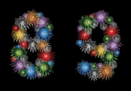 Numbers (8, 9) made from colorful in the form of fireworks numbers - check my portfolio for other numbers Vector