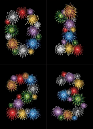 cipher: Numbers (0, 1, 2, 3) made from colorful in the form of fireworks numbers - check my portfolio for other numbers Illustration