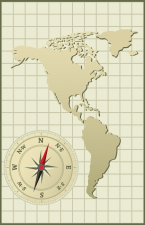 Map of North and Latin Americas.  illustration. Vector