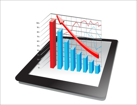 computer tablet showing a spreadsheet with some 3d charts over it Stock Vector - 18438569