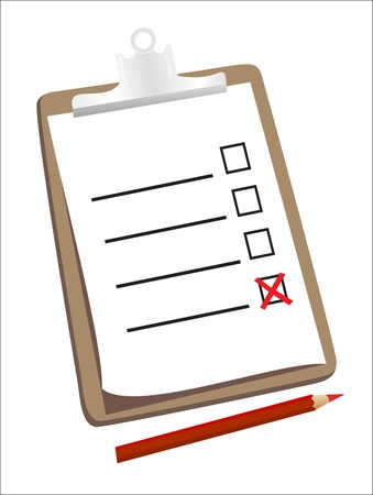 A wooden clipboard holding a ticked checklist and a pencil Stock Vector - 18439671