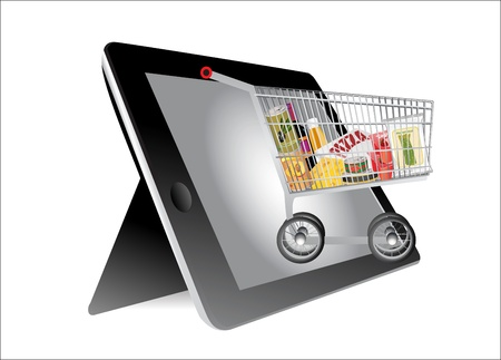 Shopping Cart full with groceries into a Tablet PC on white background Vector
