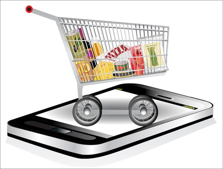 Smartphone with shopping cart full with groceries on white background. Stock Vector - 18439679
