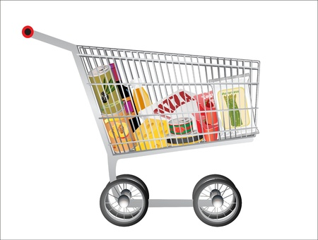 bought: A shopping cart full with groceries isolated on white background Illustration