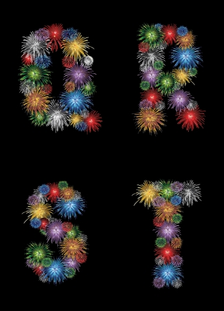 outdoor fire: letters (Q, R, S, T) made from colorful in the form of fireworks letters - check my portfolio for other letters.