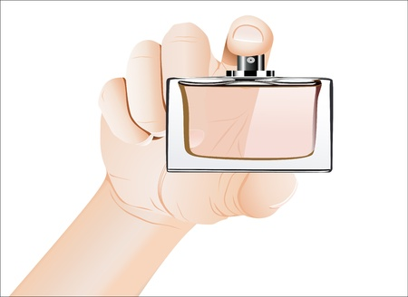 Mens hand with perfume bottle isolated on white background Vector