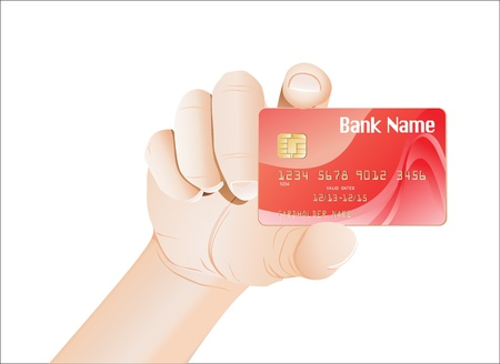 nameless: Credit card with chip in a male hand isolated on white