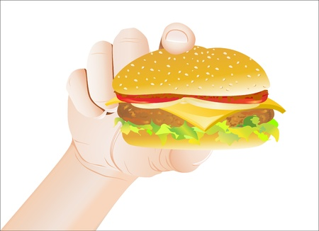 ground beef: Hand Holding a Cheeseburger Illustration