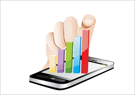 Smartphone screen with graph and a hand. Vector