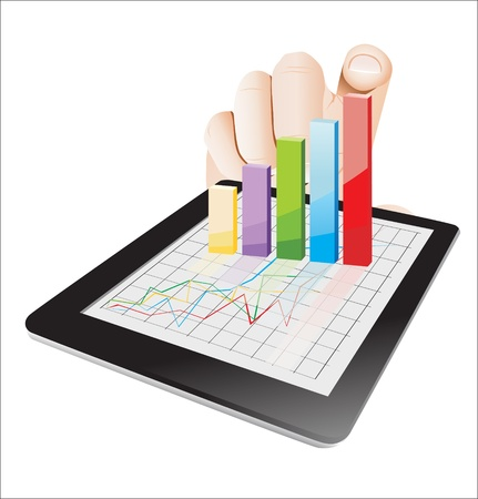 Tablet screen with 3D graph and a hands. Vector