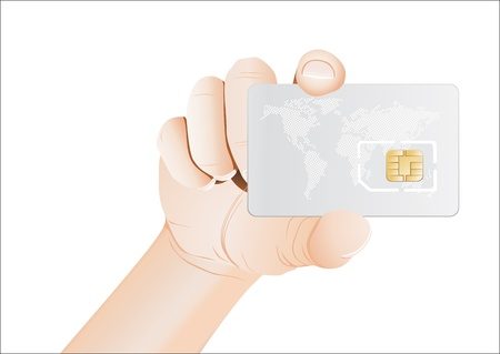 wireles: Sim card In a hand isolated on white background