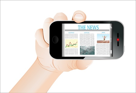 Hand holding mobile smart phone with news article on the screen. Isolated on white. Stock Vector - 18439732