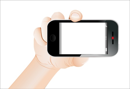 Hand holding mobile smart phone with blank screen. Isolated on white. Stock Vector - 18439006