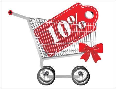 Shopping cart and red ten percentage discount, isolated on white background. Vector
