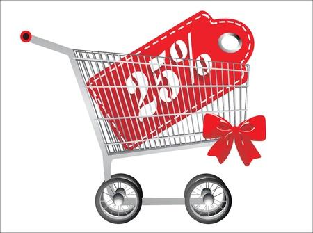 twenty five: Cesta y rojo veinticinco porcentaje de descuento, aislados en fondo blanco