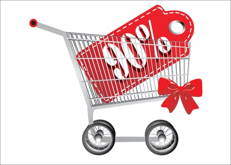 ninety: Shopping cart and red ninety percentage discount, isolated on white background.