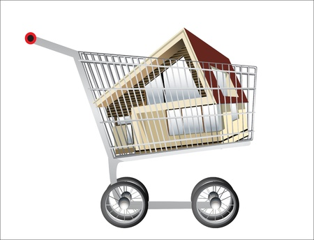 renting: shopping cart and house on a white background