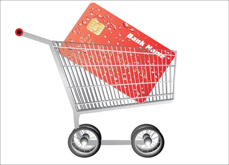 renting: Credit card with Shopping Cart on a white background Illustration