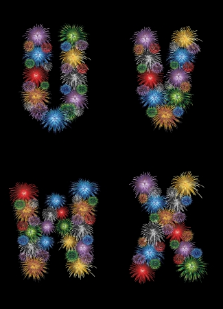 letters (U, V, W, X) made from colorful in the form of fireworks letters - check my portfolio for other letters. Vector