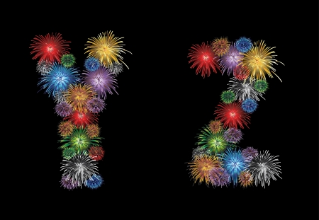 letters (Y, Z) made from colorful in the form of fireworks letters - check my portfolio for other letters. Vector