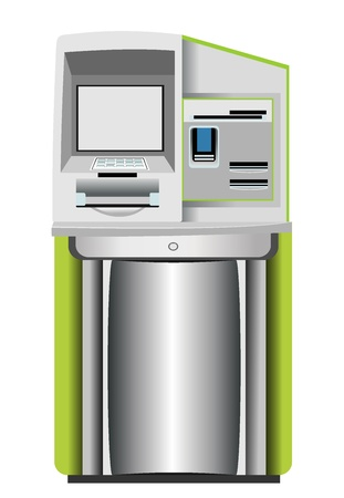 automated: Automated teller machine isolated on white Illustration
