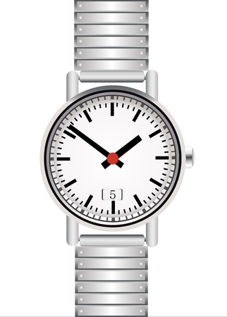 Silver wrist watch isolated on white background Stock Vector - 18464588