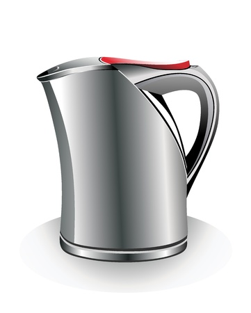 stainless electric kettle isolated on white Vector