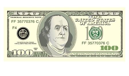 hundred dollar bill: hundred dollar bill on white