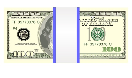 Stack of one hundred dollar bills, isolated on white Stock Vector - 18465614