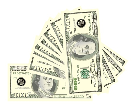 greenbacks: fan, dollars isolated on white Illustration