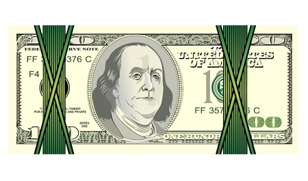 Stack of one hundred dollar bills, isolated on white  Vector